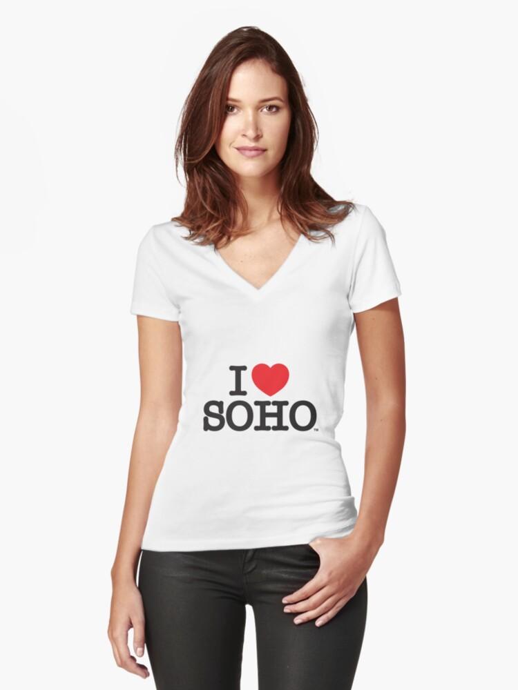 I Love Soho Official Merchandise @ilovesoholondon Women's Fitted V-Neck T-Shirt Front