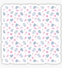 Modern watercolor blue pink tropical flamingo floral Sticker