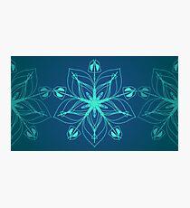 Ice Cold Floral Blue Mandala Design Photographic Print