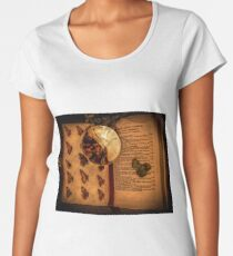 Butterfly wings book under the magnifying loop Women's Premium T-Shirt