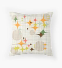 Eames Era Starbursts and Globes 3 (bkgrnd) Throw Pillow
