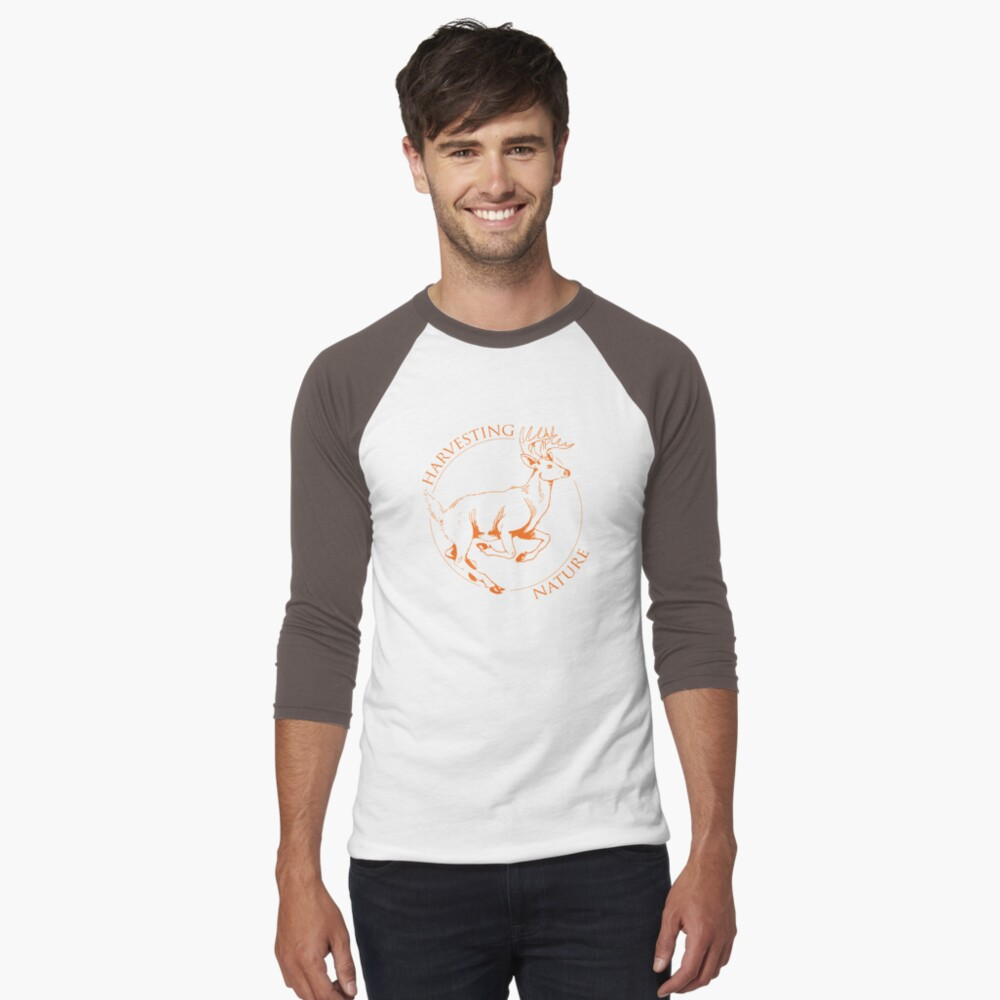 Running Deer Shirt Men's Baseball ¾ T-Shirt Front