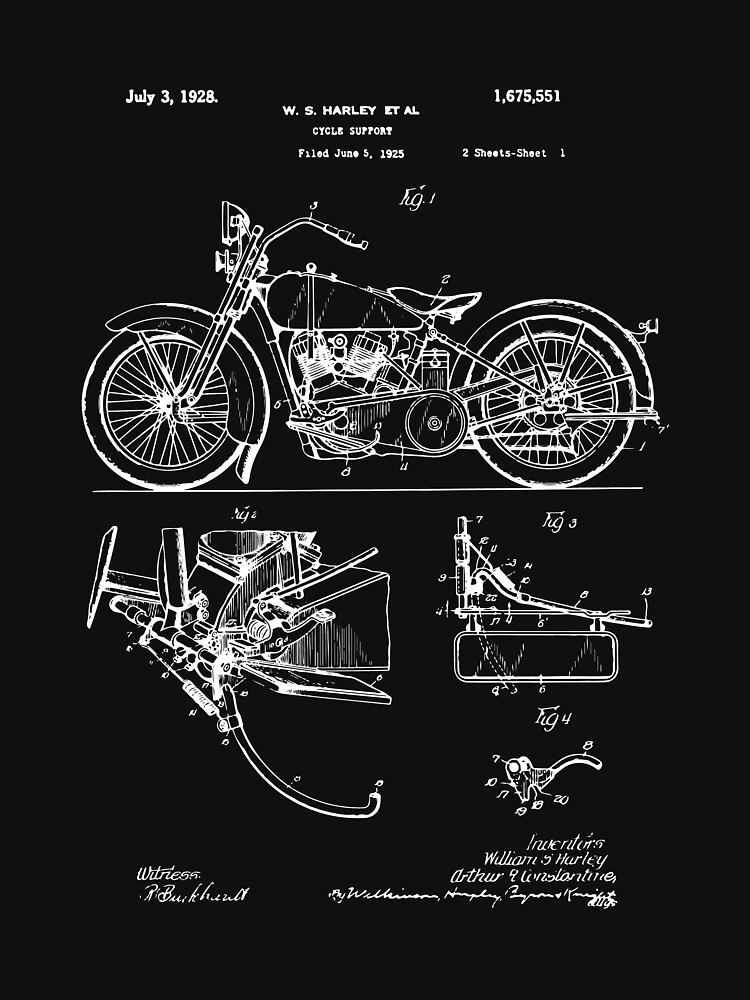 Harley Davidson Model JD Patent Poster, Motorcycle Print, Harley Davidson Poster, Motorcycle Art, Blueprint by Goshadron