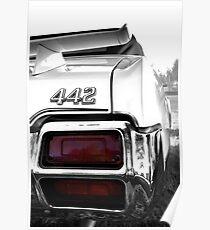1971 Oldsmobile 442 detail - High Contrast Poster