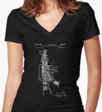 Patent Print, ar-15 Gun Poster, Ar-15 Gun Patent, Ar-15 Gun Pistol Print, AR-15 Gun Pistol Art, AR-15 Gun Decor, AR-15 Gun, Blueprint Women's Fitted V-Neck T-Shirt