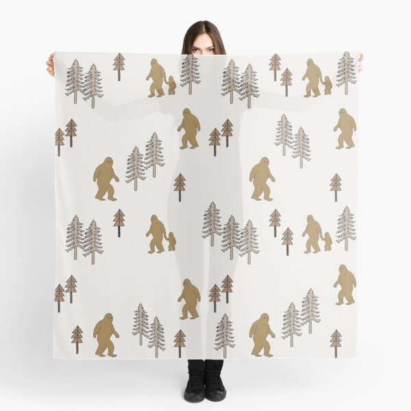 Sasquatch bigfoot pattern forest animal creature mythical beast Scarf