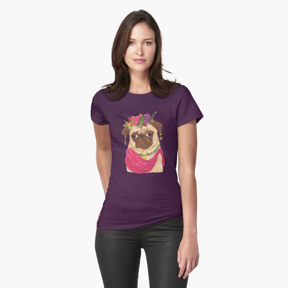 Frida Pug Womens T-Shirt Front