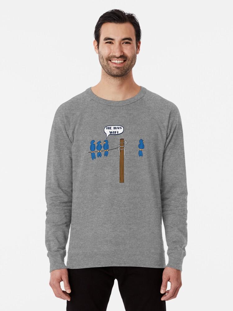 e5f5ee3b Funny WiFi T shirt Cool Bird Graphic Humor T Shirt Lightweight Sweatshirt