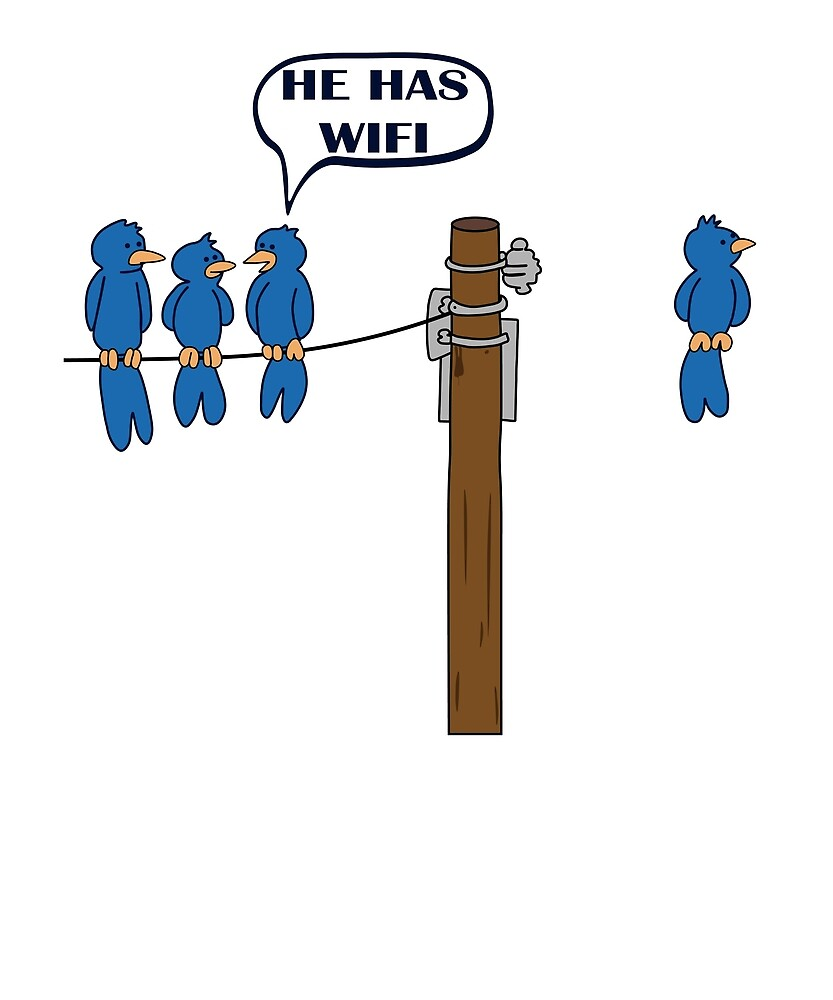 037a2f9a2 Funny WiFi T shirt Cool Bird Graphic Humor T Shirt