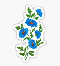 Blue watercolor wild flowers Sticker