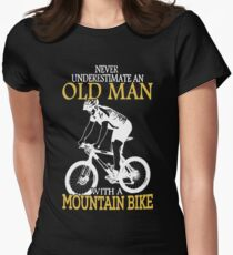 Never Underestimate An Old Man With A Mountain Bike T-Shirt Fitted T-Shirt