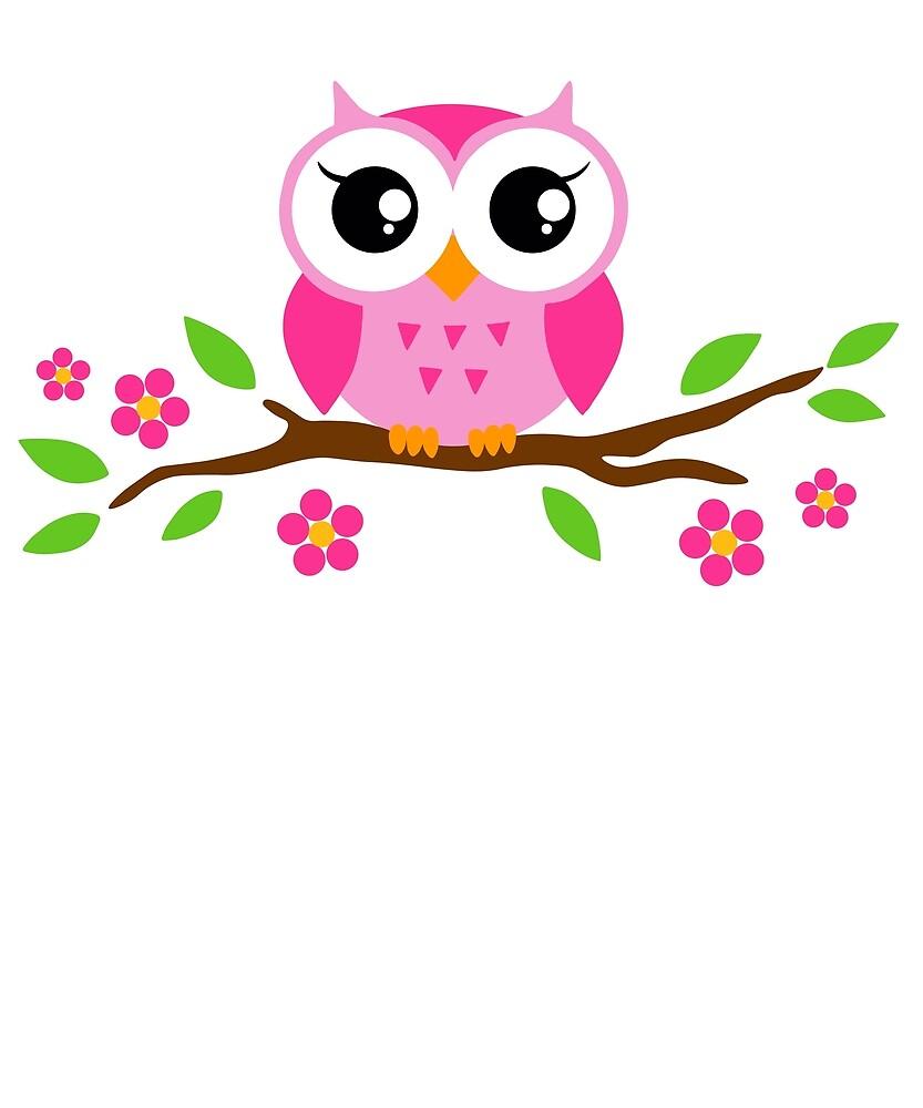 Cute Owl Flower T Shirt For Girls Birthday Funny Owl T Shirt By