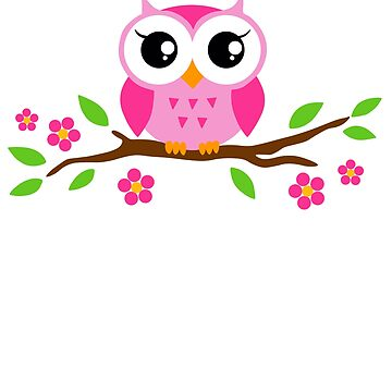 Cute Owl Flower T Shirt for Girls Birthday Funny Owl T Shirt by Syfcondesign