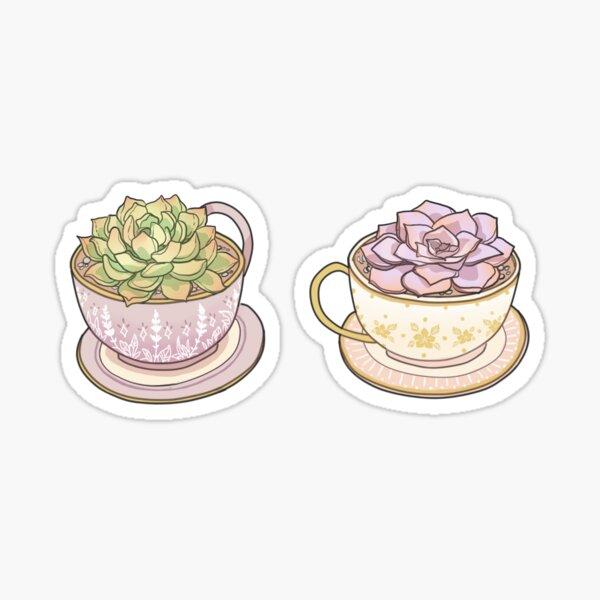 Succulents & tea cups Sticker