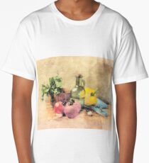 Kitchen Still Life, Kitchen, Dining Room, Tomatoes, Olive Oil, Bell Pepper, Gift for Chef Long T-Shirt