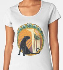 Art Deco Jaguar Flowers Women's Premium T-Shirt