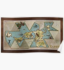 EARTH World Map Old-Timey Poster