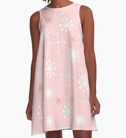 AFE Pink Snow Flakes A-Line Dress