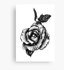 black and white tattoo rose drawing Canvas Print