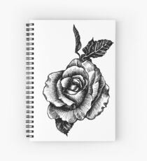 black and white tattoo rose drawing Spiral Notebook