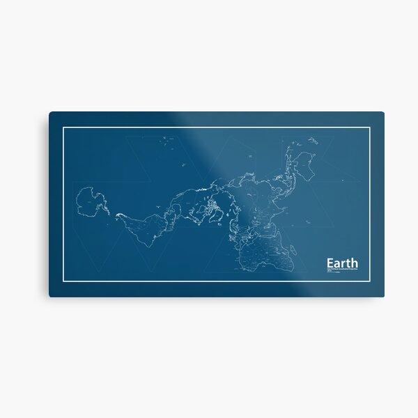EARTH World Map Blueprint Metal Print