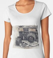 Vintage Photographic Camera, Camera, Retro Camera, Photo Studio, Camera Art, LAB, Gift for Photographer Women's Premium T-Shirt