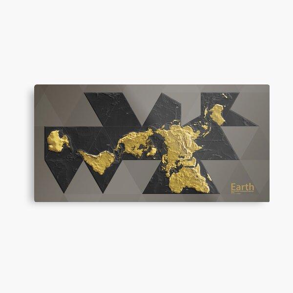 EARTH World Map Gold Metal Print