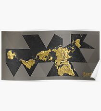 EARTH World Map Gold Poster