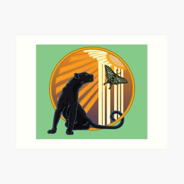 Art Deco Jaguar Plain Art Print