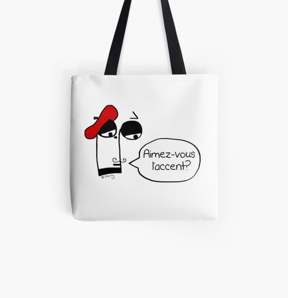 Aimez-vous l'accent? - Funny French Music Cartoon All Over Print Tote Bag