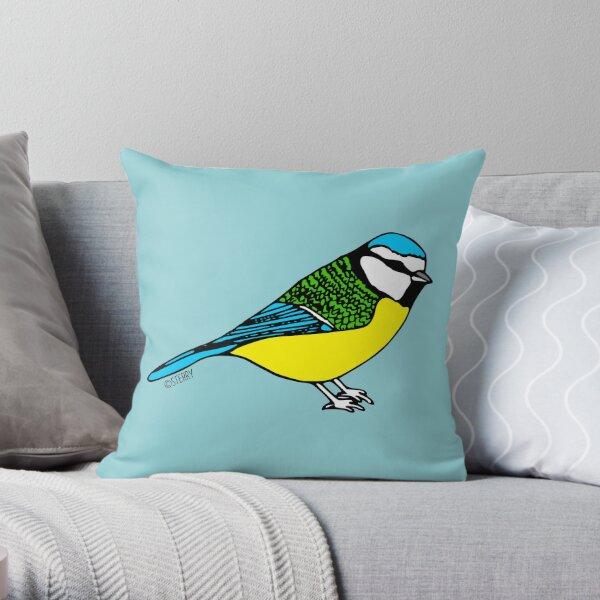 Bluetit - Bird Illustration Throw Pillow
