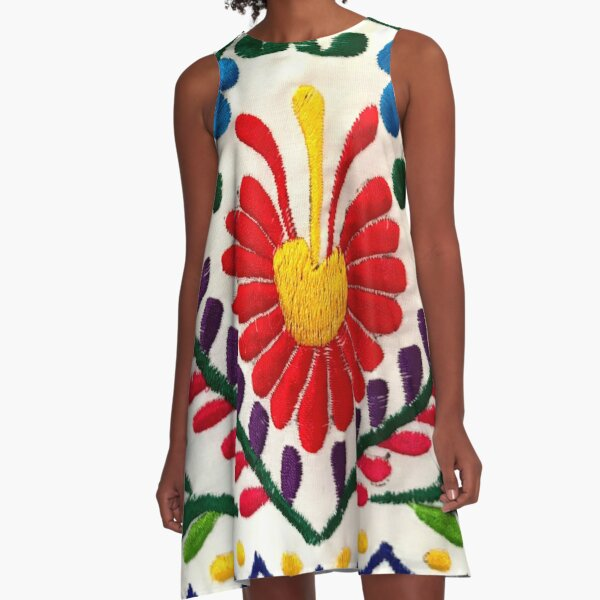 Mexican Flowers A-Line Dress