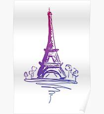 Paris Tower Eiffel design sketch gradient  Poster