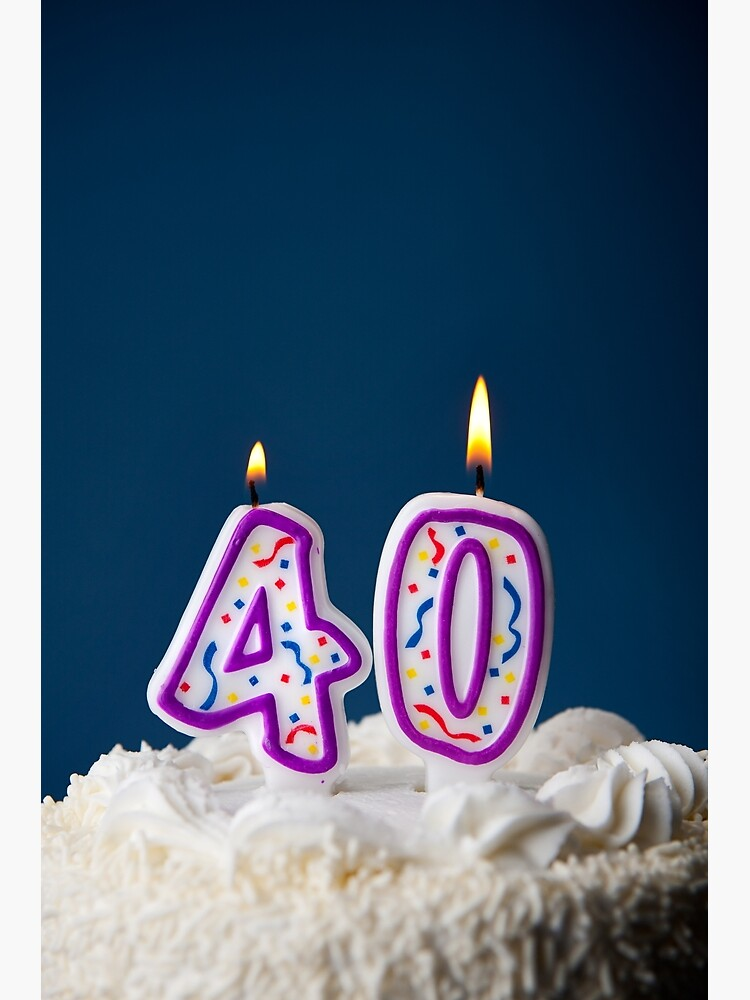 Fabulous Cake Birthday Cake With Candles For 40Th Birthday Greeting Card Funny Birthday Cards Online Elaedamsfinfo
