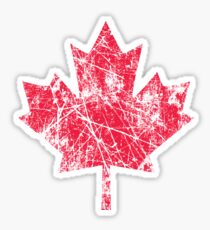 Canadian Maple Leaf Grunge Distressed Style in Red Sticker