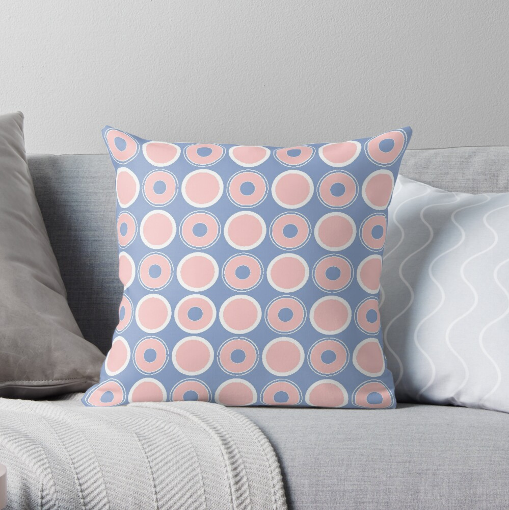 Pantone Colour of the Year 2016  Rose Quartz/ Serenity / Circles Throw Pillow