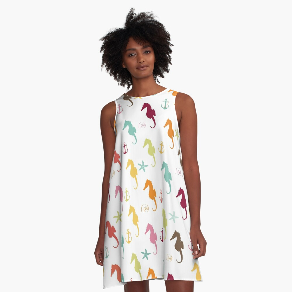AFE Colorful Seahorse Pattern A-Line Dress Front