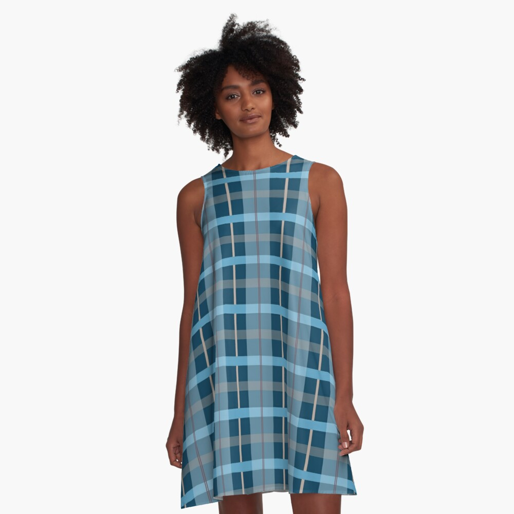 AFE Blue Plaid Pattern A-Line Dress Front