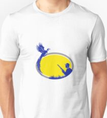 Hunter and Pheasant Bird Oval Retro T-Shirt