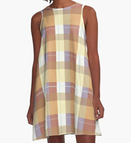 AFE Brown Plaid Pattern A-Line Dress