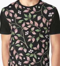 Watercolor Pink Green Leaves Berries on Black Background Graphic T-Shirt