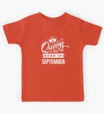 Queens are born in September - White on Black Colorable Design! Kids Clothes