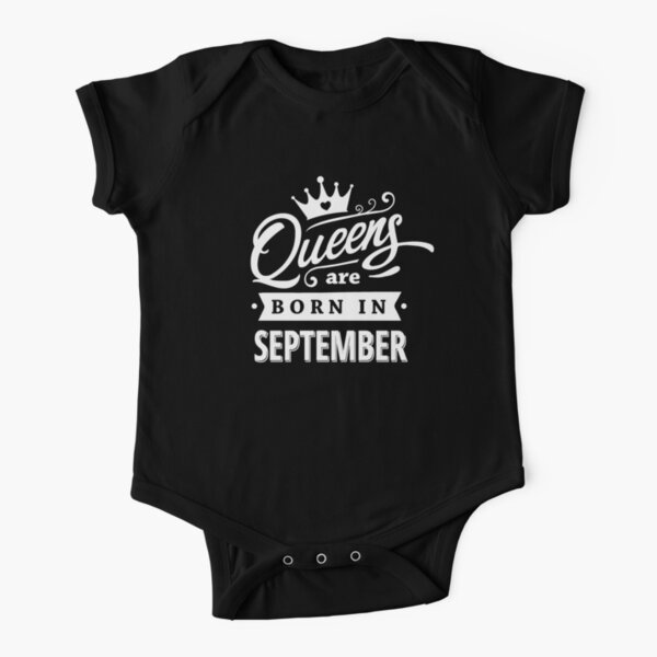 Queens are born in September - White on Black Colorable Design! Short Sleeve Baby One-Piece