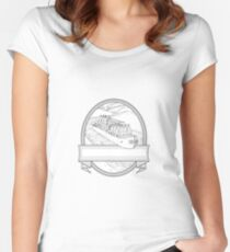 Gin Bottles on Barge River Oval Line Drawing Women's Fitted Scoop T-Shirt
