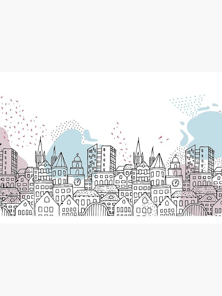 European city - Pastel drawing by mirunasfia