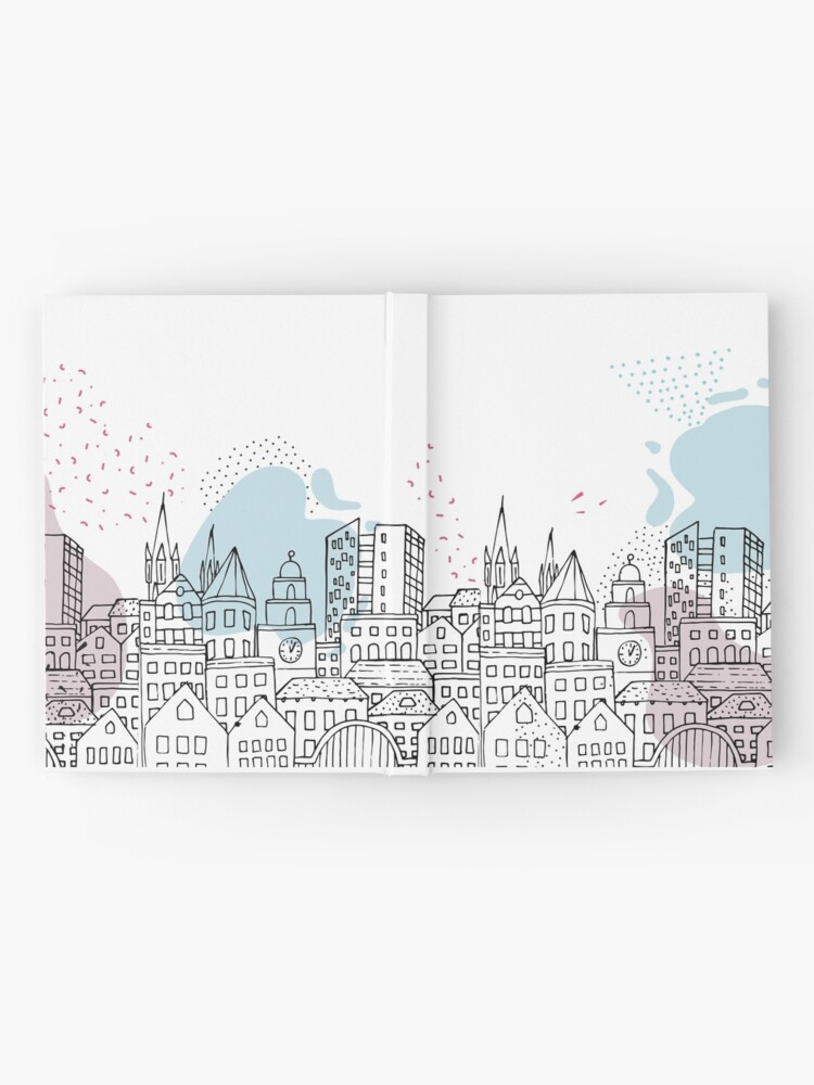 Alternate view of European city - Pastel drawing Hardcover Journal
