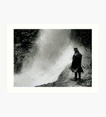 Man By Waterfall Art Print