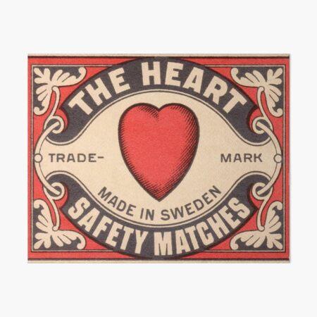 Antique Swedish Matchbox Label The Heart Art Board Print