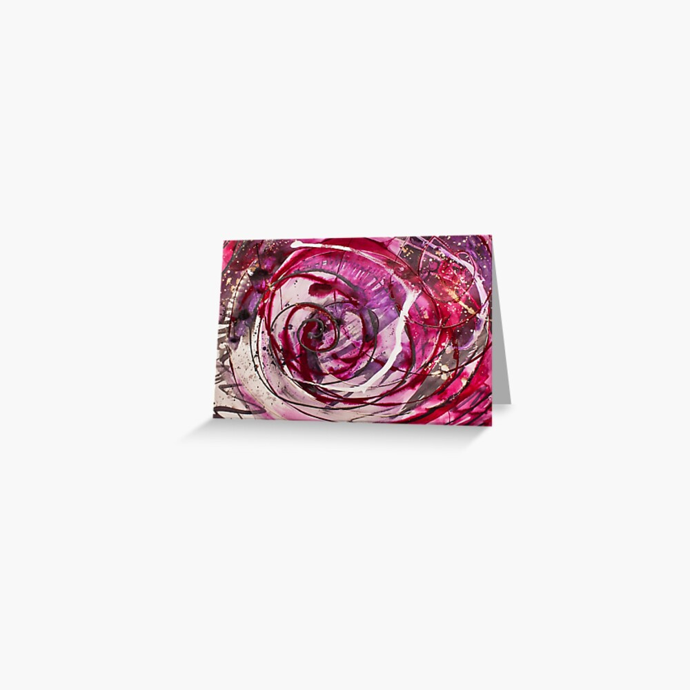 Spirals of Magenta and Black Greeting Card