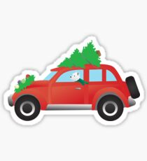 Westie Terrier Driving Christmas Car with Tree on Top Sticker